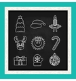 Christmas line icons written in chalk on the vector image