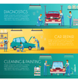 Car Repair Center Retro Cartoon Banners vector image