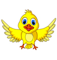 Cute Yellow bird cartoon posing vector image