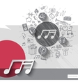 Hand drawn music notes icons with icons background vector image