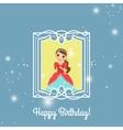 Happy Birthday blue princess card vector image