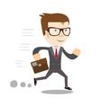 Business man runs to success vector image