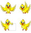 cute yellow bird cartoon collection vector image