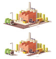 low poly factory icon vector image