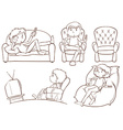 Plain sketches of the lazy people vector image