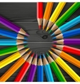 Circle of rainbow colored pencils with realistic vector image