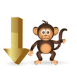 Cute chimpanzee little monkey and down arrow mark vector image