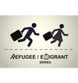 Man and woman running with suitcases vector image