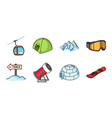 ski resort and equipment icons in set collection vector image