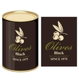 tin can with label of black olives vector image