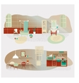 Vintage interior set Kitchen and bathroom vector image