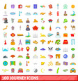 100 journey icons set cartoon style vector image