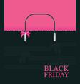 black friday shopping bag sale on pink background vector image