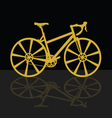 gold bicycle on black background vector image