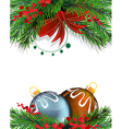 Christmas tree decorations with red bow vector image