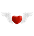 Hovering heart with wings vector image