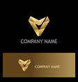 letter v triangle gold company logo vector image