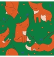 Seamless pattern of hand drawn cute ginger foxes vector image