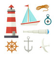 set of flat cartoon style nautical elements vector image