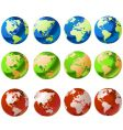 world globe set vector image