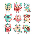 stylized design owls emoji stickers collection of vector image