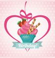 happy birthday sweet dessert celebration vector image