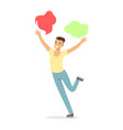 young man in casual clothes dancing traditional vector image