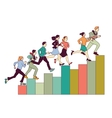 Business people run on graph diagram vector image