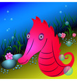 Red seahorse and seaweeds under water vector image
