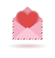 envelope with red heart vector image vector image