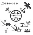 big data icons set satellite telecommunications vector image