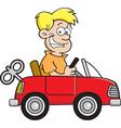 Cartoon boy driving a toy car vector image