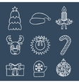 Christmas line icons written in chalk vector image