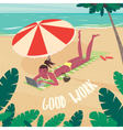 Cute girl working by the sea vector image