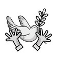 line hands with dove animal and branch with leaves vector image