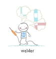 welder welding machine and keeps thinking about vector image