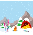 Winter Camp Mountains Landscape with Tent vector image