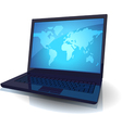 Laptop with blue map of the World vector image