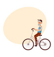 old man in vest and hat riding a bicycle cycling vector image