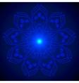 Hand drawn shine blue flower mandala over dark vector image