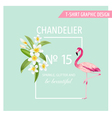 Tropical Flowers and Leaves Flamingo Bird vector image