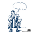 Stressed man sitting on step vector image vector image