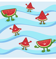 Cute Watermelon Fruit Slice Mascot on Wave vector image