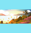 amazing sunset on seaside horizontal banner vector image