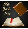 Cartoon brown book open and closed with red ribbon vector image