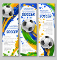 colorful soccer banners for sport design vector image