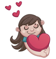 Girl in love holding a heart vector image