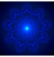 Hand drawn shine blue flower mandala over dark vector image