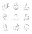 light icons set outline style vector image