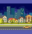 night city cartoon with road vector image